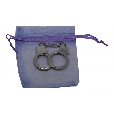 Ultra Mini New 12cm Metal Handcuff Cuff Shaped Keychain for Keyrings Keys 12cm Including a Purple Gift Bag Gift Keyring Novelty