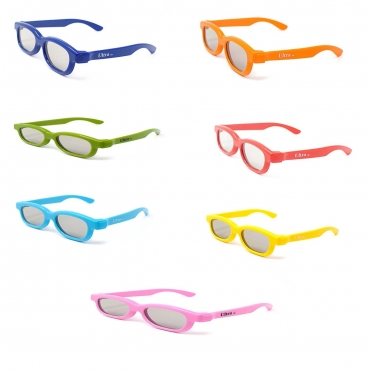 Rainbow Pack of 7 Kids Passive 3D Glasses for Use at Home or in Cinemas for Children Circular Polorized Lenses for RealD 3D Systems