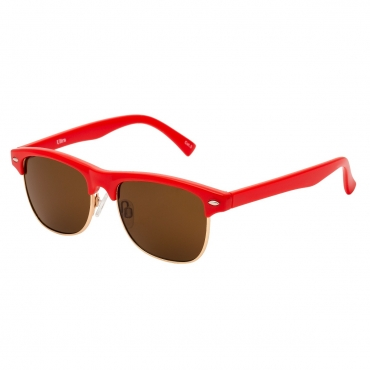 Red Frame with Brown Lenses Childrens Round Half Frame Kids Sunglasses UV400 UVA Protection Retro Classic Boys Girls Glasses Half Rim Vintage Style Suitable for Ages 3 to 8 Years