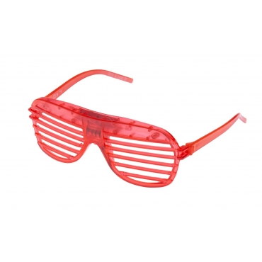 Red Flashing LED Shutter Style Glasses Glow Slotted Plastic Light Up Party