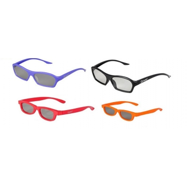 Family Pack 4 Pairs of Passive 3D Glasses 2 adults and 2 kids for all Passive TVs Cinema and Projectors such as RealD Toshiba LG Panasonic and more-1 Black 1 Purple Adults 1 Red 1 Orange Childrens