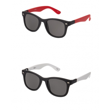 Clix Red and White Arms Adults Colour Changeable Classic Shape Sunglasses Unisex Clear Frames Colouful Lenses Retro Stylish Designer Frames UV400 Sunglasses Great Retro Classic Style