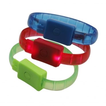 Ultra ® 2 Pack of LED Bracelets glowing adjusatble light up illuminating bracelet available in Green Red Blue and White for parties raves birthdays dances and events