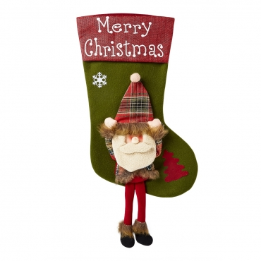 Ultra 1 Santa with Legs Christmas Stocking with Dangly Legs Christmas Stockings Large 3D Plush Xmas Sock Sack Gift Bag for Tree Christmas Stocking Pouch Bag Candy Bag Christmas Decorations For Kids Adults