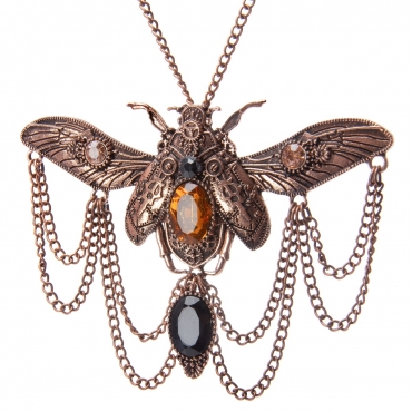 Scarab Beetle  Steampunk Necklaces Classic Cyber Punk Victorian Mens Womens Jewellery Chain and Pendant Copper Vintage Cosplay