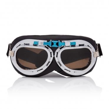 Ultra Silver & Brown Lenses Vintage Classic Motorcycle Helmet Mens Womens Steampunk Retro Cyber Pilot Flying Goggles WW2 Cosplay Eyewear Unisex