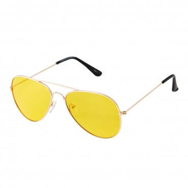 Ultra Silver Frame Pilot Style Amber Lens UV400 Polarized Sunglasses Classic Night Driving Glasses Men's and Women's Polarised Sunglasses Anti Glare Yellow Tinted Glasses Anti Glare Dazzle Cycling