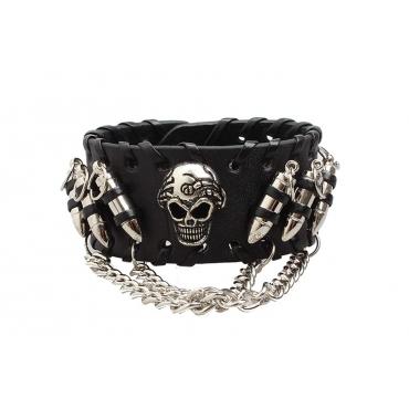 UltraByEasyPeasyStore Single Skull and Bullets Goth Steampunk Bracelet Emo Punk Cyber Wrist Cuff Mens Womens Wristbands Biker Rock Vintage Gothic Style Adult