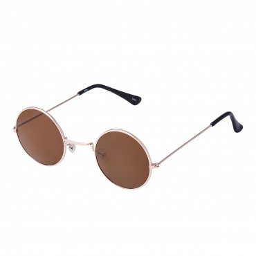 Ultra Gold Frame with Brown Lenses Retro Round Adults Small John Lennon Style Sunglasses Classic Men Women Vintage Retro UV400 Glasses Unisex