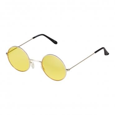 Ultra Adults Small Retro Round Classic John Lennon Style Sunglasses Mens Women UV400 Glasses-Silver Frame Yellow Lenses