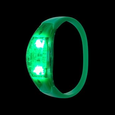 Green LED Sound Activated Bracelet Light Up Flashing Bracelets Adult Children