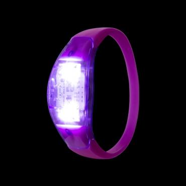 Purple LED Sound Activated Bracelet Light Up Flashing Bracelets Adult Children