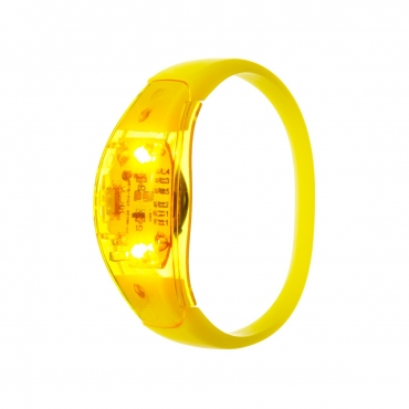 Ultra Yellow LED Sound Activated Bracelet Light Up Flashing Bracelets Adult Children