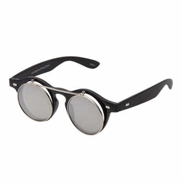 Ultra Black Frame Silver Mirrored Lenses Flip Up Round Steampunk Sunglasses Classic Goggles Retro Mens Womens UV400 Cyber Gothic Circle Glasses
