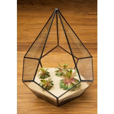 Triangle Teardrop Shaped Glass Terrarium Planter For Air Plants Cactus Small Succulents & Wedding Table Centrepiece or Gift Geometric 17.5x17.5x22cm