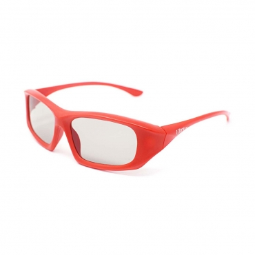 Packs of 1 to 5 Red Adults Passive 3D Glasses in a wraparound style for Passive TVs Cinema and Projectors such as RealD Toshiba LG Panasonic