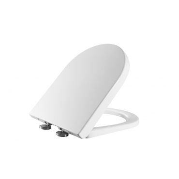 Ultra UF803 White D Shaped Duroplast Anti-Bacterial Quick Release Soft Quiet Closing Toilet Seat with Slow Soft Close Hinges Quick Fixing Adjustable Hinges