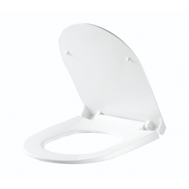 Ultra UF806 White D Shaped UF Anti-Bacterial Quick Release Soft Quiet Closing Toilet Seat with Slow Soft Close Hinges Quick Fixing Adjustable Hinges (UF806)
