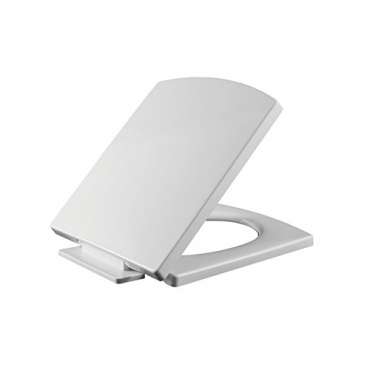 White Square Shaped Soft Close Toilet Seat Easy Instal & Quick Fixing PP Anti-Bacterial Quick Release & Slow Closing Hinges Adjustable Lid Top Fixing