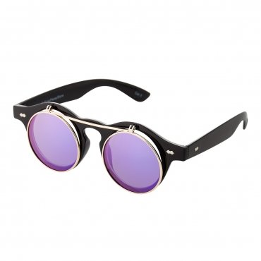 Ultra Black Frame Purple Flip Lenses Flip Up Round Steampunk Sunglasses Classic Goggles Retro Mens Womens UV400 Cyber Gothic Circle Glasses