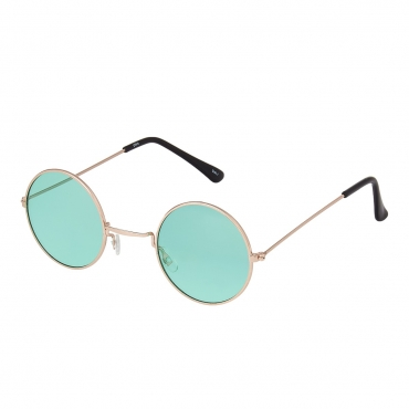Ultra Gold with Green Lenses Small Style Adults Retro Round Sunglasses John Lennon Style vintage look quality UV400 Sunglasses for men Women in Silver and Black with Red Blue Smoke Lenses