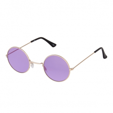 Ultra Gold Frame with Purple Lenses Retro Round Adults Small John Lennon Style Sunglasses Classic Men Women Vintage Retro UV400 Glasses Unisex