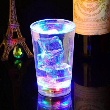 Water Liquid Activated LED Flashing Glass Light Up Induction Tumbler 300ml Party