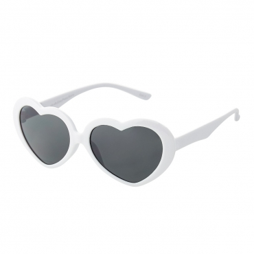 White Childrens Heart Shaped Classic Sunglasses Girls UV400 Retro Love Kids Glasses Suitable for Ages 3 to 10 years