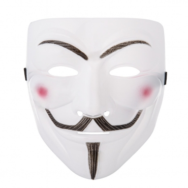 Ultra 1 White Adults Guy Fawkes Mask Hacker Anonymous Halloween Fancy Dress Adults Costume Play With Elasticated Strap High Quality