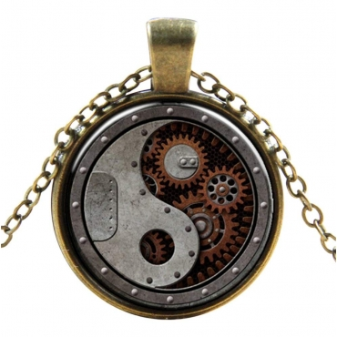 Yin and Yang Style Steampunk Necklaces Classic Cyber Punk Victorian Mens Womens Jewellery Chain and Pendant Copper Vintage Cosplay