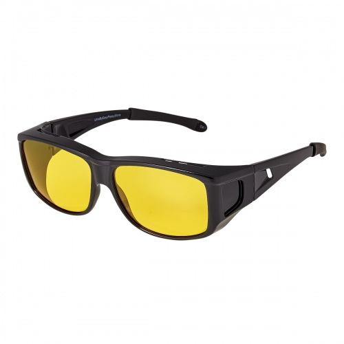 Ultra Black Over Glasses Style without Side Windows Large Over Glasses Night Driving Glasses Men's and Women's Polarised Sunglasses Anti Glare Amber Lens UV400 Polarized Sunglasses Yellow Tinted Glasses Anti Glare Dazzle Golf Sailing