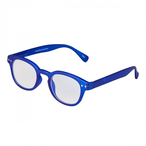 Ultra Deep Blue Horn Rimmed Childrens Anti Blue Light Blocking Eye Strain Glasses Boys Girls Classic Kids