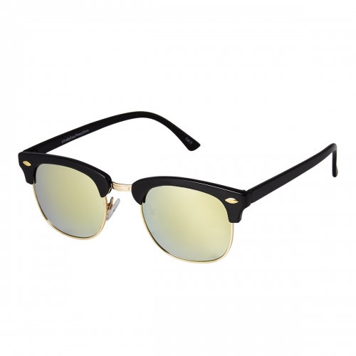 Ultra Black Frame Gold Lenses Adults Half Rim Rimmed Classic Mens Womens Sunglasses Retro UV400 Glasses