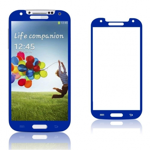 Ultra Edition Blue Coloured Tempered Glass Screen Protector Compatible with Samsung Galaxy S4 Mobile Phones Asahi 0.4ml i9500ams i9505 Oleophobic and Lyophobic