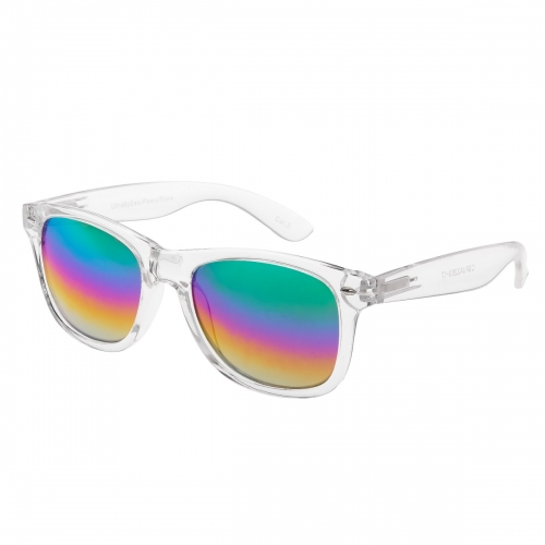 Ultra Transparent Clear with Rainbow Rush Lenses Frame Sunglasses Adults Classic Retro Sunglasses Women Man UV400 Protection Clear Glasses Rimmed