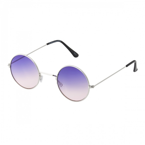 Ultra Silver Frame with Purple to Pink Lenses Adults Small Retro Round Classic John Lennon Style Sunglasses Mens Women UV400 Glasses