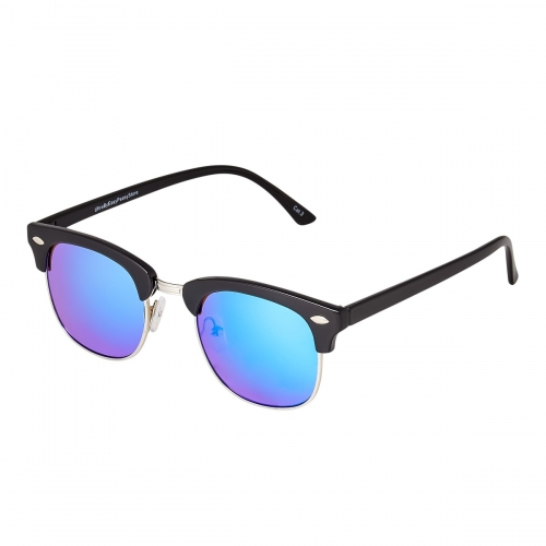 Ultra Black Frame Ice Blue Lenses Adults Half Rim Rimmed Classic Mens Womens Sunglasses Retro UV400 Glasses