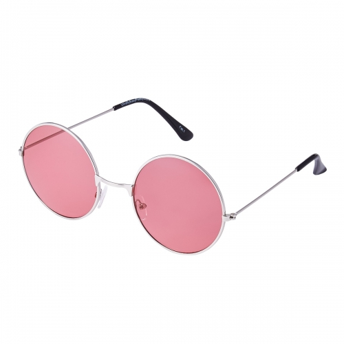 Ultra Silver Frame with Dark Pink Lenses Large Adults Retro Round Classic Sunglasses John Lennon Style Men Women Glasses UV400