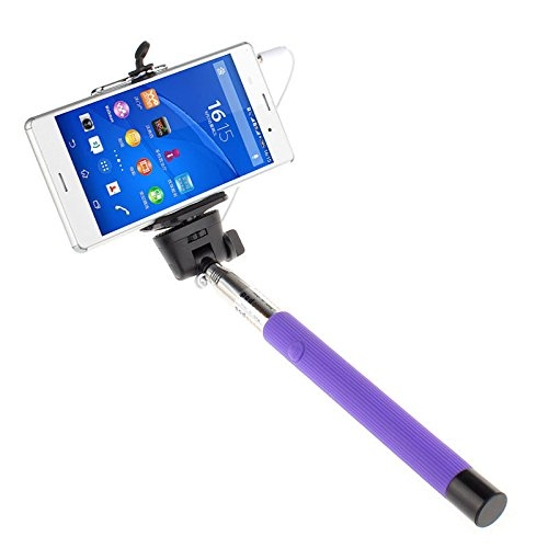 Handheld Cable Take Extendable Selfie Stick Wired Monopod Pole For Mobile Phones
