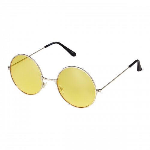 Ultra Silver Frame Yellow Lenses Large Adults Retro Round Classic Sunglasses John Lennon Style Men Women Glasses UV400