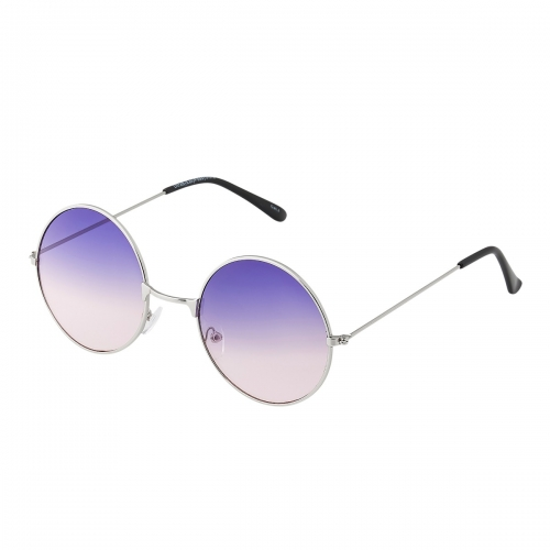 Ultra Silver Frame with Purple to Pink Lenses Large Adults Retro Round Classic Sunglasses John Lennon Style Men Women Glasses UV400