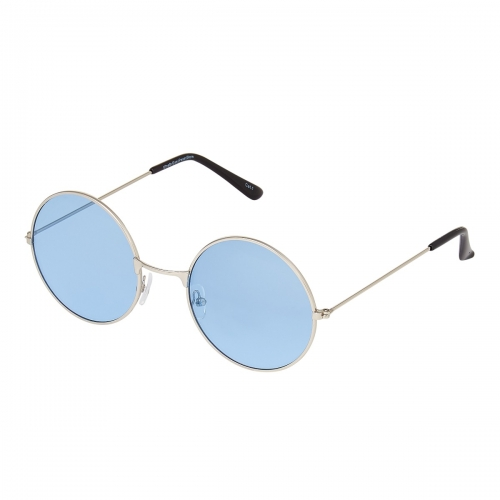 Ultra Silver Frame with Light Blue Lenses Adults Retro Round Sunglasses Small Style John Lennon Sunglasses Vintage Look Quality UV400 Sunglasses Elton John Glasses Men Women Unisex Classic Eyewear