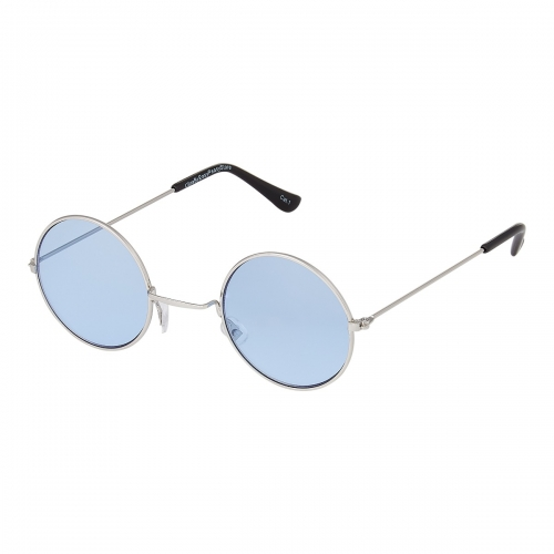 Ultra Silver Frame with Light Blue Lenses Retro Round Adults Small John Lennon Style Sunglasses Classic Men Women Vintage Retro UV400 Glasses Unisex