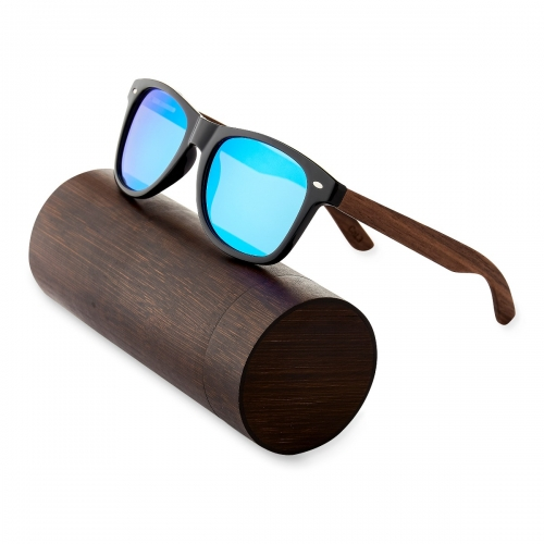 Ultra Walnut Arms with Blue Lenses Sunglasses Polorised Eyewear Wooden Sunglasses UV400 Mens Womens-Walnut Arms with Blue Lenses